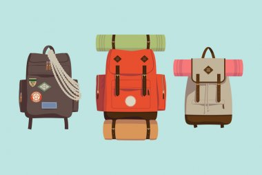Three hiking backpacks.