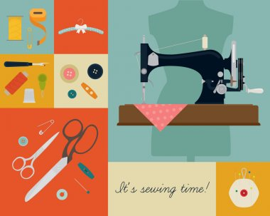 Vector concept poster design on needle work and sewing craft featuring 'It's sewing time!' title. Retro styled sewing and needle work themed background with sewing machine, scissors, buttons and more stock vector