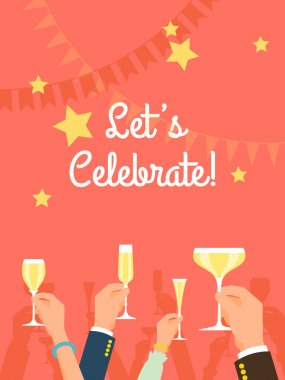 Vector flat modern invitation background on party time with multiple raised hands holding champagne glasses, cheering. Simple corporate celebration event background with 'Let's celebrate!' title stock vector