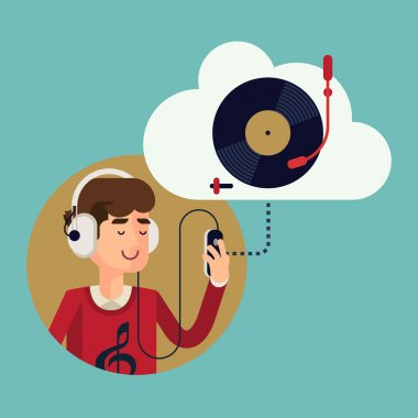 Man in earphones listening music