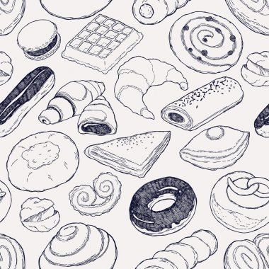 Bakery products seamless pattern