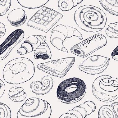 "Картина, постер, плакат, фотообои ""продукты пекарни бесшовный образец"", артикул 60823987"