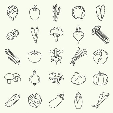 Vegetables  line icons.
