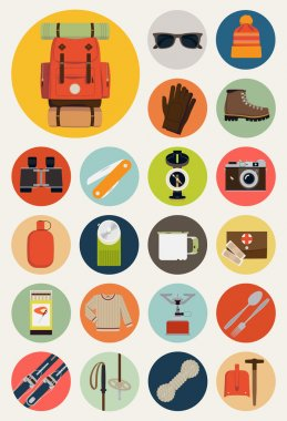 Backpack trip equipment icons.