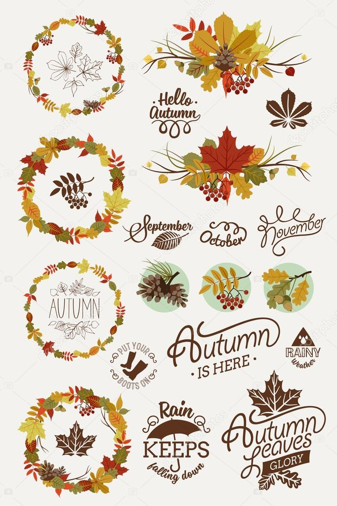 Collection of autumn elements