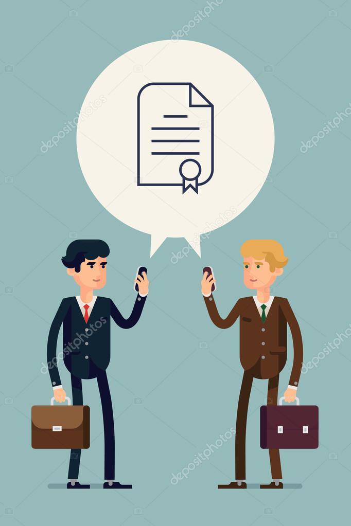 Business men reaching agreement