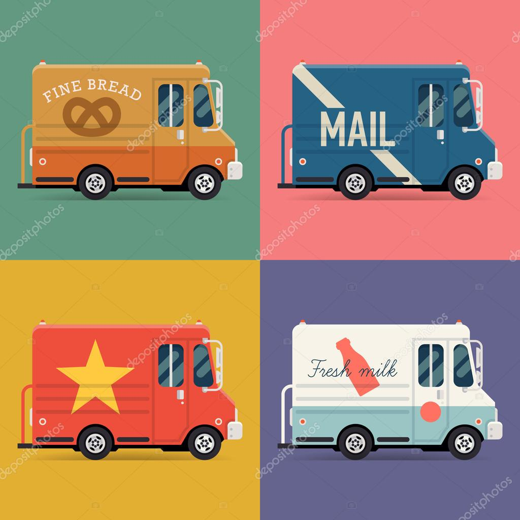 Local delivery service vans.