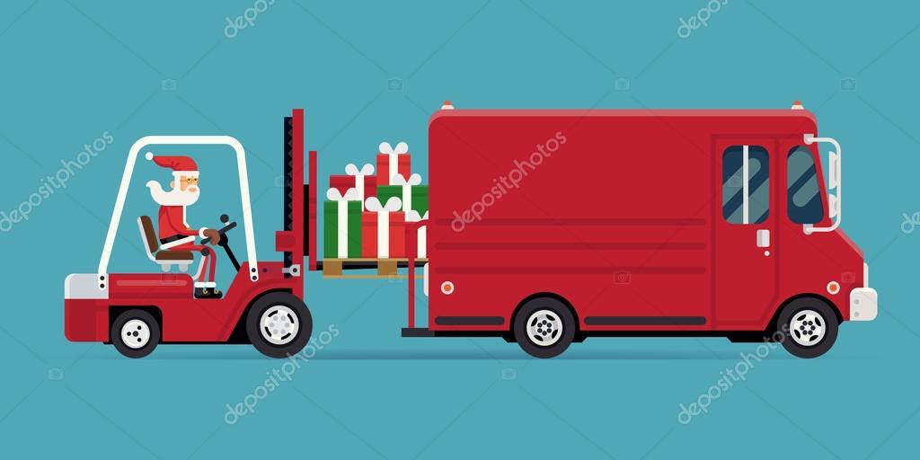 Weihnachten Geschenke Lieferung und Versand — Stockvektor ...