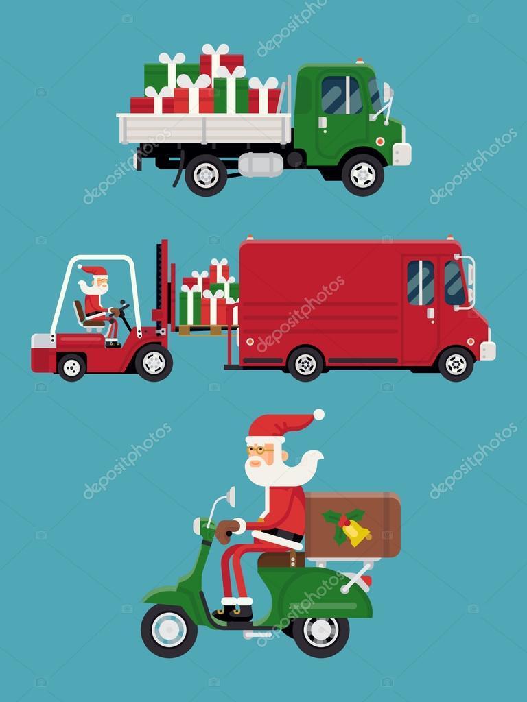 Weihnachten Geschenke Versand Weihnachtsmann — Stockvektor ...