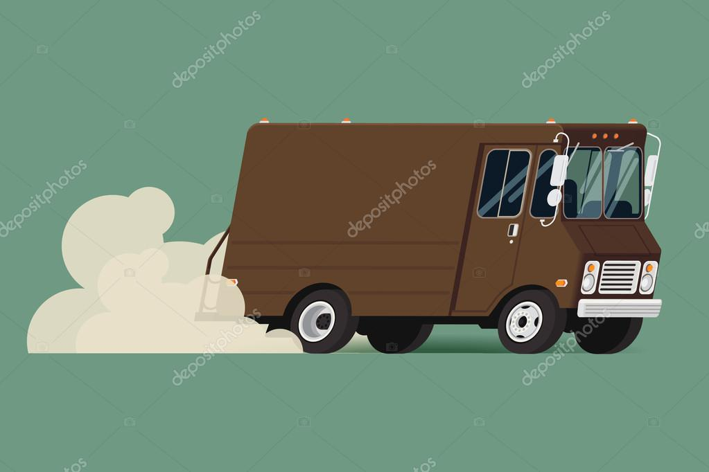 Shipping service truck running fast