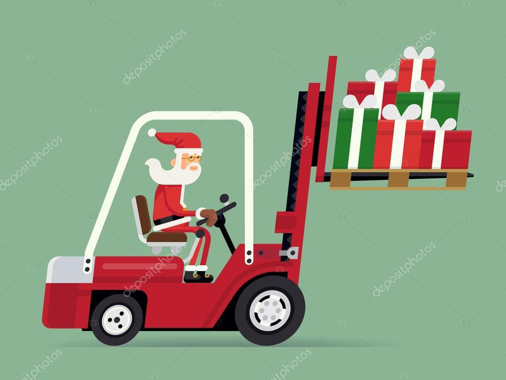 Santa Claus riding forklift with gifts — Stock Vector © masha_tace ...