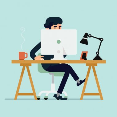 Businessman character working with  computer
