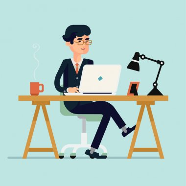 Vector modern flat design illustration on businessman character working with laptop featuring office table with work lamp, coffee mug, and photo frame stock vector