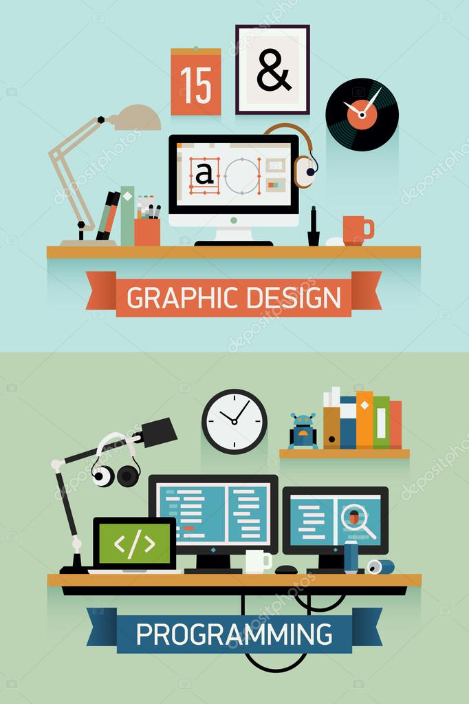 Programmer and graphic designer work space