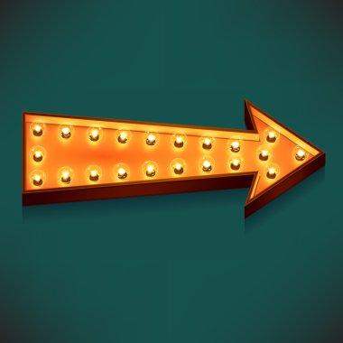 Glowing light bulbs arrow