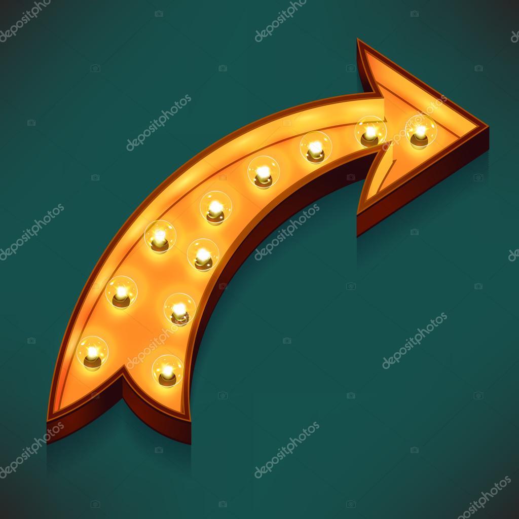 Arrow  with electric bulbs.