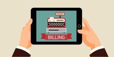 Machine billing icon on screen.