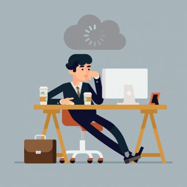 Vector modern creative flat design illustration on tired businessman at work. Bored office worker procrastinating behind his desk. Person at work waiting to be inspired to manage daily tasks stock vector