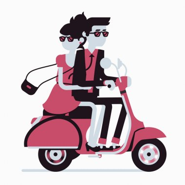 Couple riding scooter together.