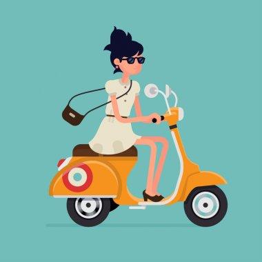 Woman riding retro scooter