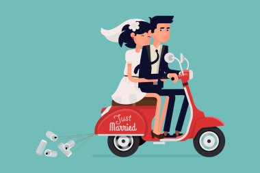 Just married  couple riding scooter