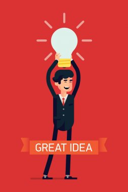 Vector modern flat design concept creative visual on great idea and brainstorming in business with businessman holding idea light bulb above his head, laughing happy, full length clip art vector