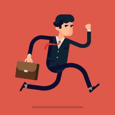 Businessman running fast
