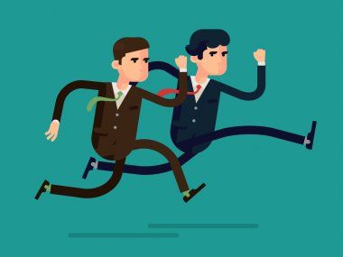 Vector modern flat design abstract illustration on running business people in rush competing. Two different businessmen competition run, isolated, full length. Leader and outsider dashing run stock vector