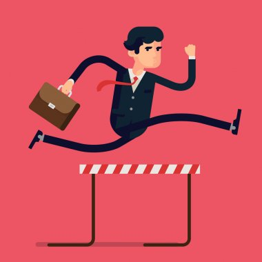 Businessman jumping over hurdle obstacle