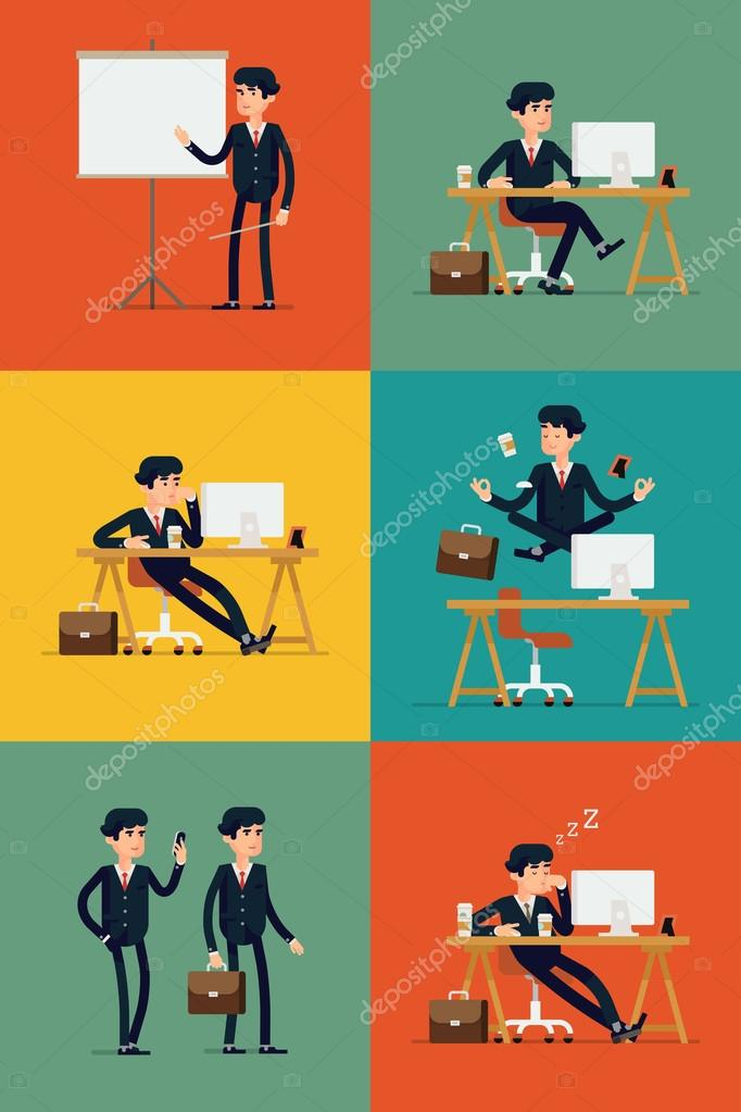 Business office worker web icons
