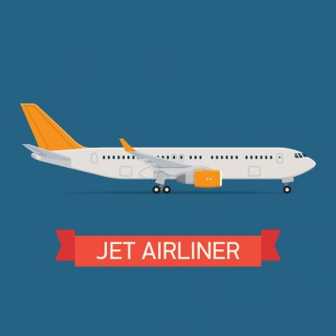 Vector modern travel web icon on transport passenger jet airliner plane, flat design, side view, isolated stock vector
