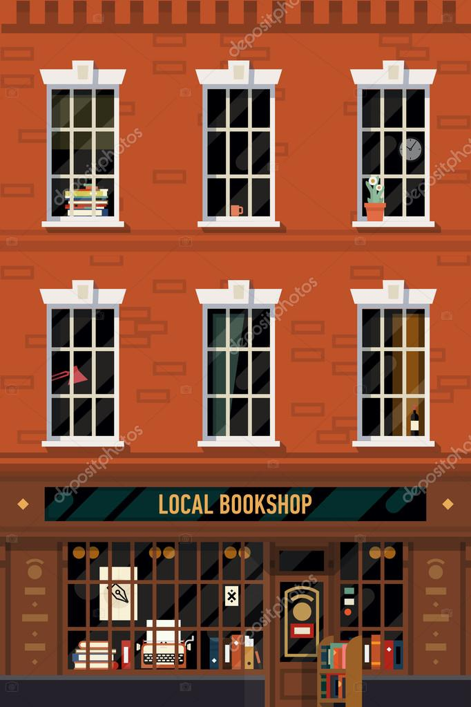 Brick building  with  book shop