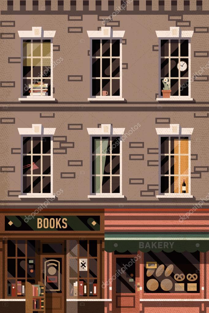 Retro bookshop and local bakery