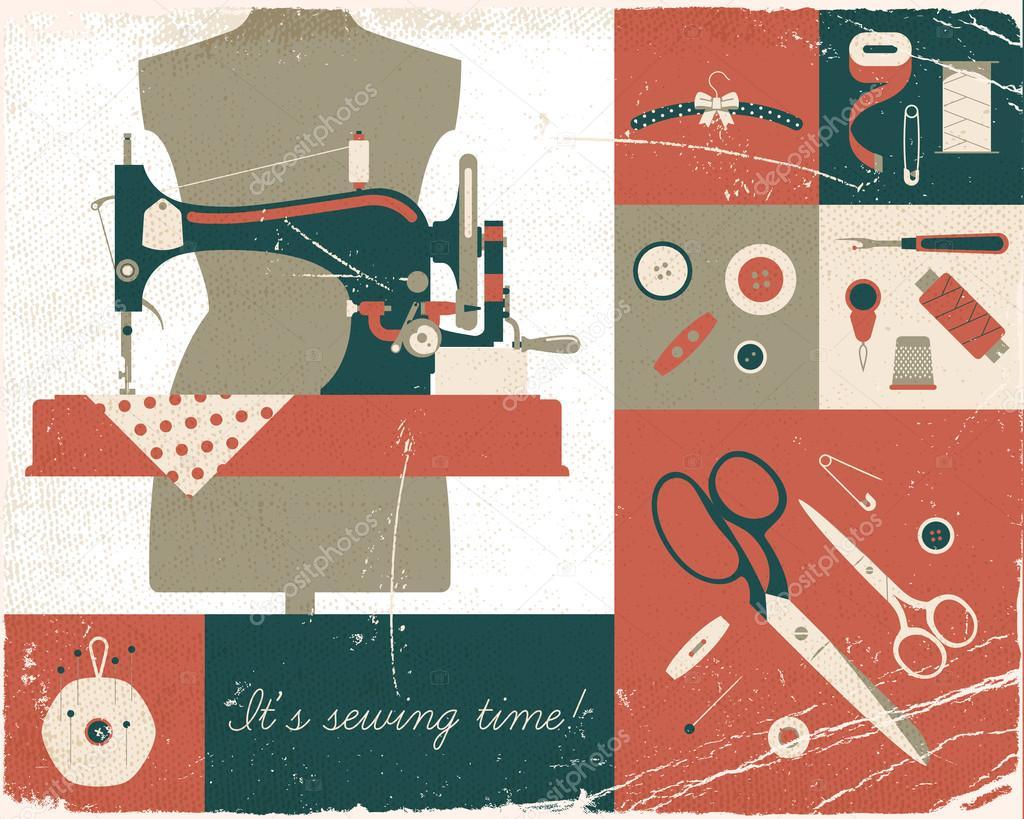 M quina de coser y suministros de arte vector de stock for Sewing and craft supplies