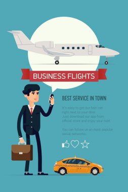 Vector modern flat creative concept vertical banner design on business jet trip booking application featuring modern business jetliner plane. Male businessman checking flight status on his phone stock vector