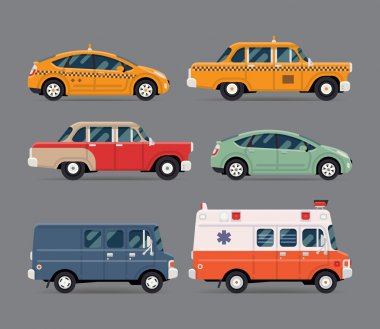 Different cars and cabs
