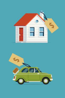 House and car with price tags