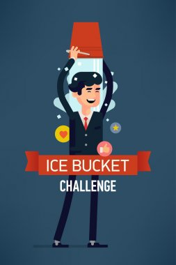 Vector modern flat character design on happy businessman participating in ice bucket challenge, full length. Concept design on ice bucket challenge clip art vector