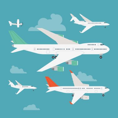 Vector modern flat design web icons on flying commercial and private personal transport passenger jet and single engine air planes, airliner, business jet, jumbo jet, side view with wings, isolated stock vector