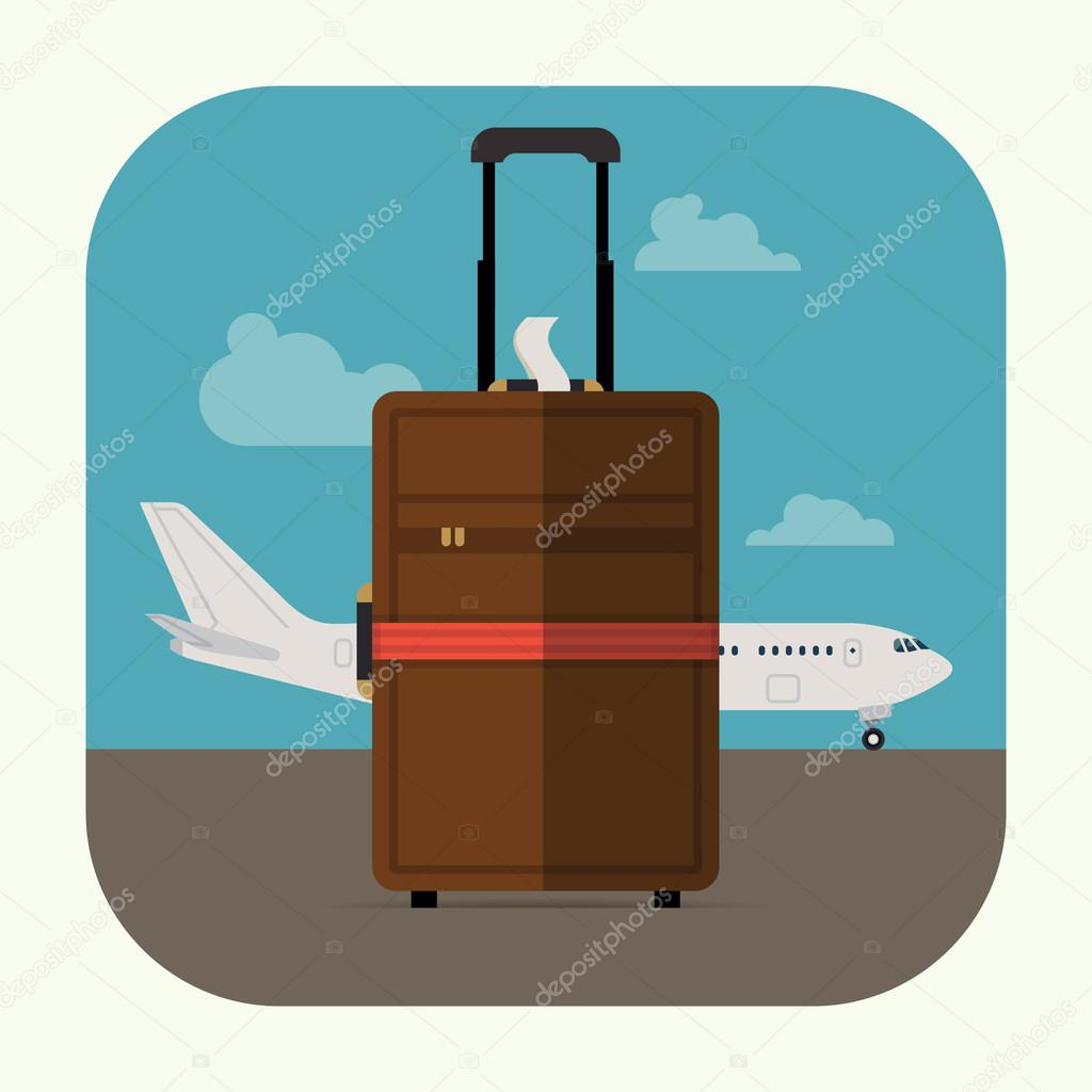 Suitcase and  airline jet plane