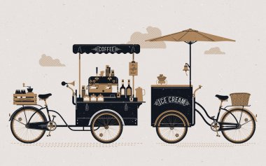 Coffee and ice cream bicycle carts