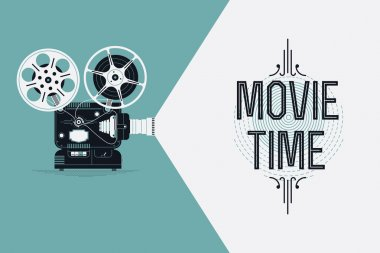 Cool retro movie projector vector detailed poster, leaflet or banner template with sample text. Analog device: cinema motion picture film projector with different film reels stock vector