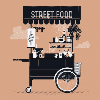 Creative vector detailed graphic design on street food with retro looking vending portable cart with awning, refreshments, bowls, bottles, and more. Mobile cafe stand illustration stock vector