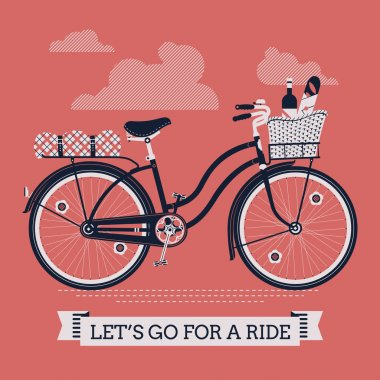 'Let's Go For A Ride' with vintage bicycle