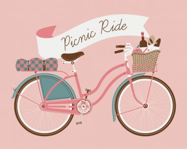 Picnic ride with vintage bicycle