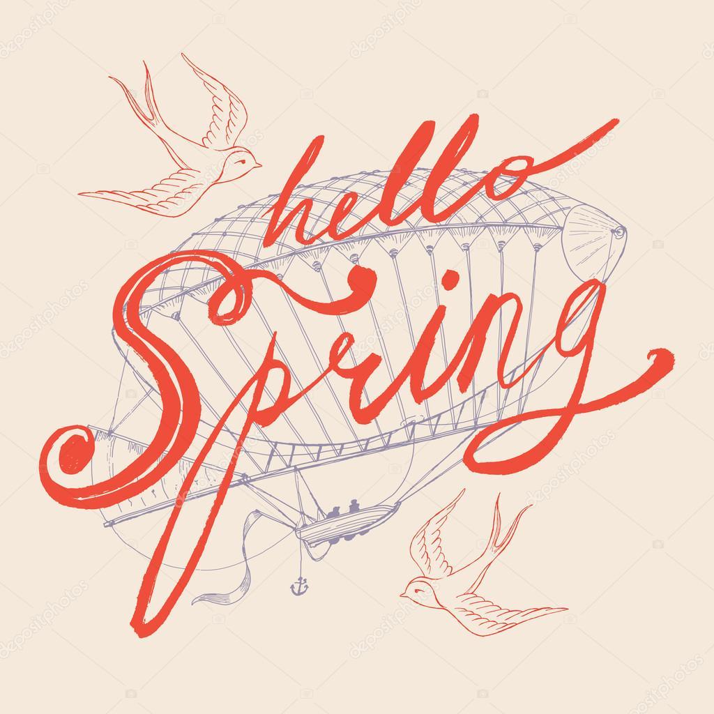 Hello Spring  hand drawn