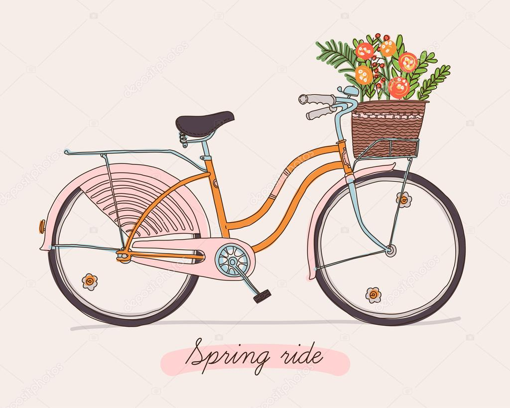 Retro bicycle with spring flowers.