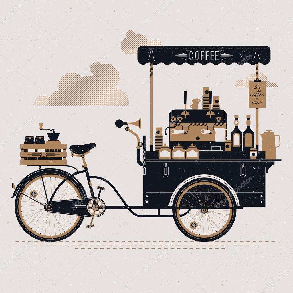 Street Coffee Bicycle Cart Stock Vector 169 Masha Tace
