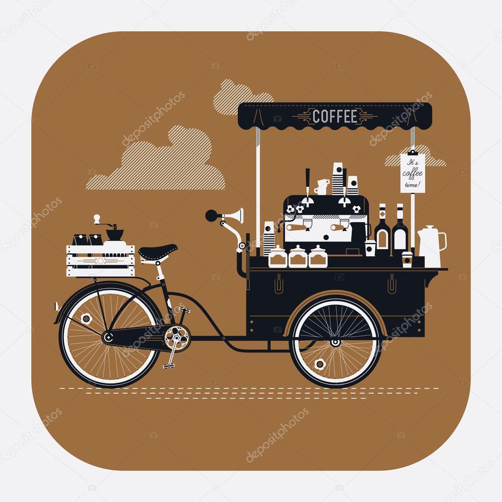Carrito De Bicicleta Caf 233 Calle Vector De Stock 169 Masha