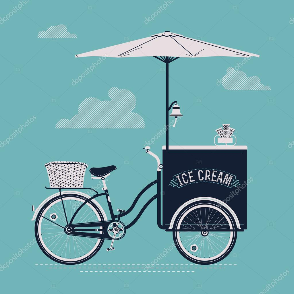 Vintage ice cream bicycle cart